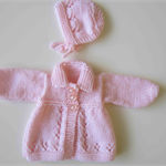 Knitted Baby Doll Matinee Jacket and Bonnet in Pink