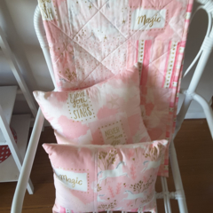 Pink unicorn cot quilt  and two cushion covers, baby quilt, baby quilts