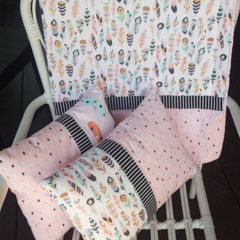 Baby girl cot quilt, blanket and two cushion covers