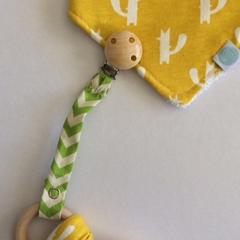 Dummy / Teether Clip - Green Chevron Design