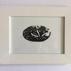 Hand Printed Linocut - Fox Design