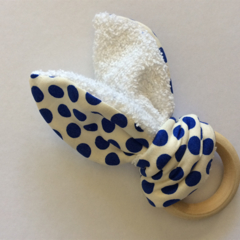 Natural Wooden Teething Ring - Blue Polka Dot Design