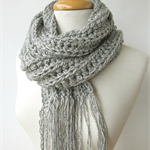 Mens Gray Knit Scarf - Long Grey Winter Scarf with Fringe - Crochet Scarves