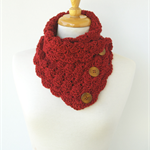 Red Button Cowl - Red Crochet Neck Warmer - Red Knit Scarves