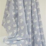 Rabbit Print Muslin Wrap - Extra Large Cotton - Blue Grey