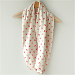 Red Heart Infinity Scarf - Red and White Loop Scarf - Australian Made