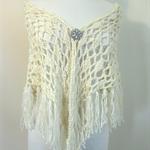 White Fringed Shawl, Triangle Scarf, Large Knit Wrap, Crochet