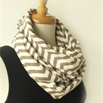 Chevron Design Infinity Scarf - Brown and White Loop Scarf - Australian Made