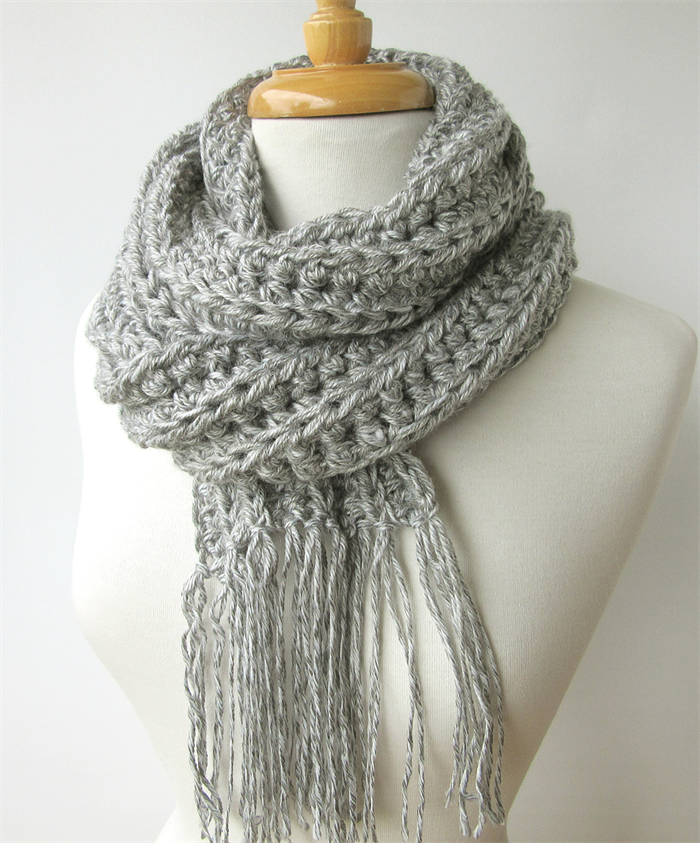 Mens Gray Knit Scarf Long Grey Winter Scarf With Fringe Crochet