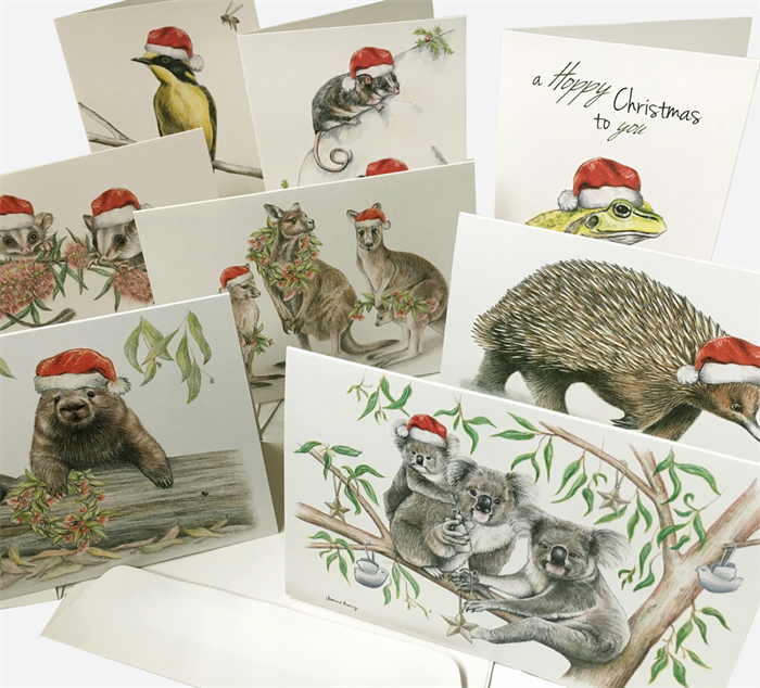 Pack of 8 x australian christmas cards mixed designs with wildlife pack of 8 x australian christmas cards mixed designs with wildlife drawings m4hsunfo Choice Image