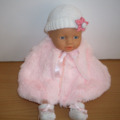 dolls faux fur cape with hat and bootees