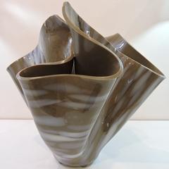 """""""Brown and White"""" draped handkerchief art glass vase"""