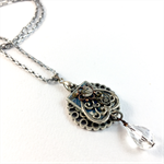 Steampunk Crystal Pendant on long chain