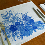 Succulent Garden Placemat Set of 4 in Blue