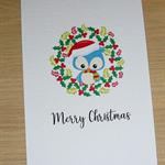 Set 4 Merry Christmas cards - owls