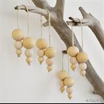4 x Wood Bead Christmas Baubles Decoration Boho Hamptons Home Decor