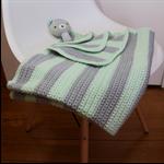Crochet, Baby Blanket, Green, Grey