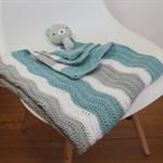 Crochet Baby Blanket,   Chevron pattern, Light Teal, Grey, White