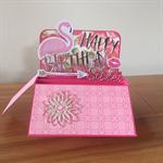 Pop Up Birthday Card, card in a box, flamingo card, Customisable card