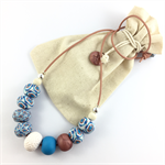 Handcrafted mosaic tiles polymer clay adjustable necklace blue & white
