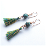 Tassel drop green earrings