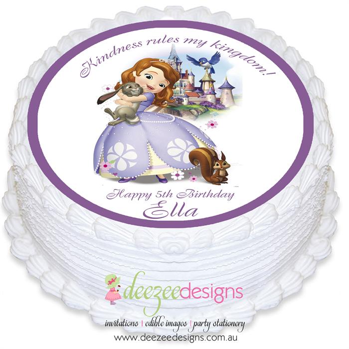 Princess Sofia The First Round Edible Cake Topper Pre Cut Ei056r