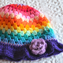 Crochet Rainbow Hat for kids with Purple Brim
