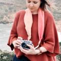Silk Scarf Camera Strap – Sunset Bloom floral scarf soft pink