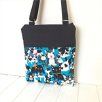Cross Body Double Zipper Bag with Dog Fabric Design