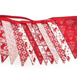 Christmas Bunting -Red Nordic Scandi Style Flags  Banner Decoration