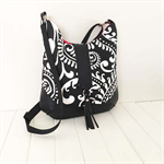 Paisley Fabric and Leather Handbag in Black & White