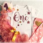 Girls Rose Gold First Birthday Flower Crown, Pettiskirt & Legwarmers Outfit