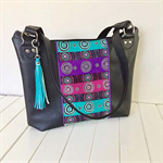 Black Faux Leather Handbag with Aboriginal Fabric Trim