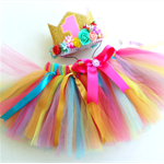 Fairy Garden Flower Crown &Tutu Baby Girls 1st Birthday Outfit
