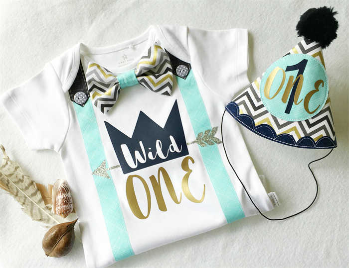 Wild One Boys First Birthday Bow Tie Onesie Party Hat Set