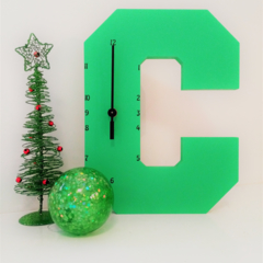 "GREEN WOODEN LETTER ""C"" CLOCK"