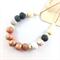 Handcrafted copper leaf, wood and rose gold polymer clay adjustable necklace