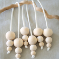3 x Wood Wooden Bead Christmas Bauble Decoration Vegan Friendly Suede Leather