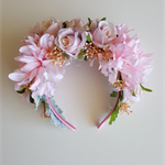 Spring Racing Floral Headband, Fascinator with Artificial Pink Flowers