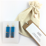 Handcrafted sky blue polymer clay earrings gold plated earring  hooks