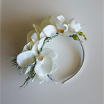 Spring Racing Floral Headband, Fascinator with Phalaenopsis Orchids