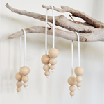 3 x Wood Bead Christmas Bauble Dangling Decoration Vegan Friendly Suede Leather