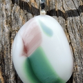 White with pink and green art glass pendant