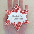 Personalised ornament. Custom made decoration. Personalised gift. Ceramic star.