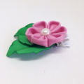 Kanzashi Flower Bloom with Leaves Hair Clip