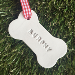 CLAY PERSONALISED CHRISTMAS DECORATIONS PET DOG CAT FAIRY TEACHER GIFT  EMBOSSED