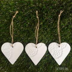 3 x CLAY LACE HEART DECORATIONS TEACHER GIFTS CHRISTMAS EMBOSSED MERRYCHRISTMAS