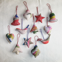 12 Felted Christmas Decorations
