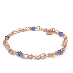 Rose gold and crystal infinity link bracelet