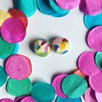 Burst of Colour Confetti Fused Glass Earrings